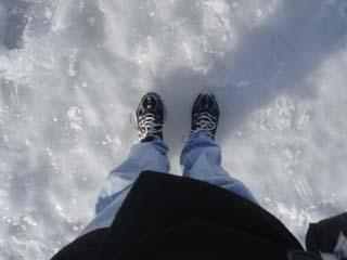 Dana's feet on Walden Pond